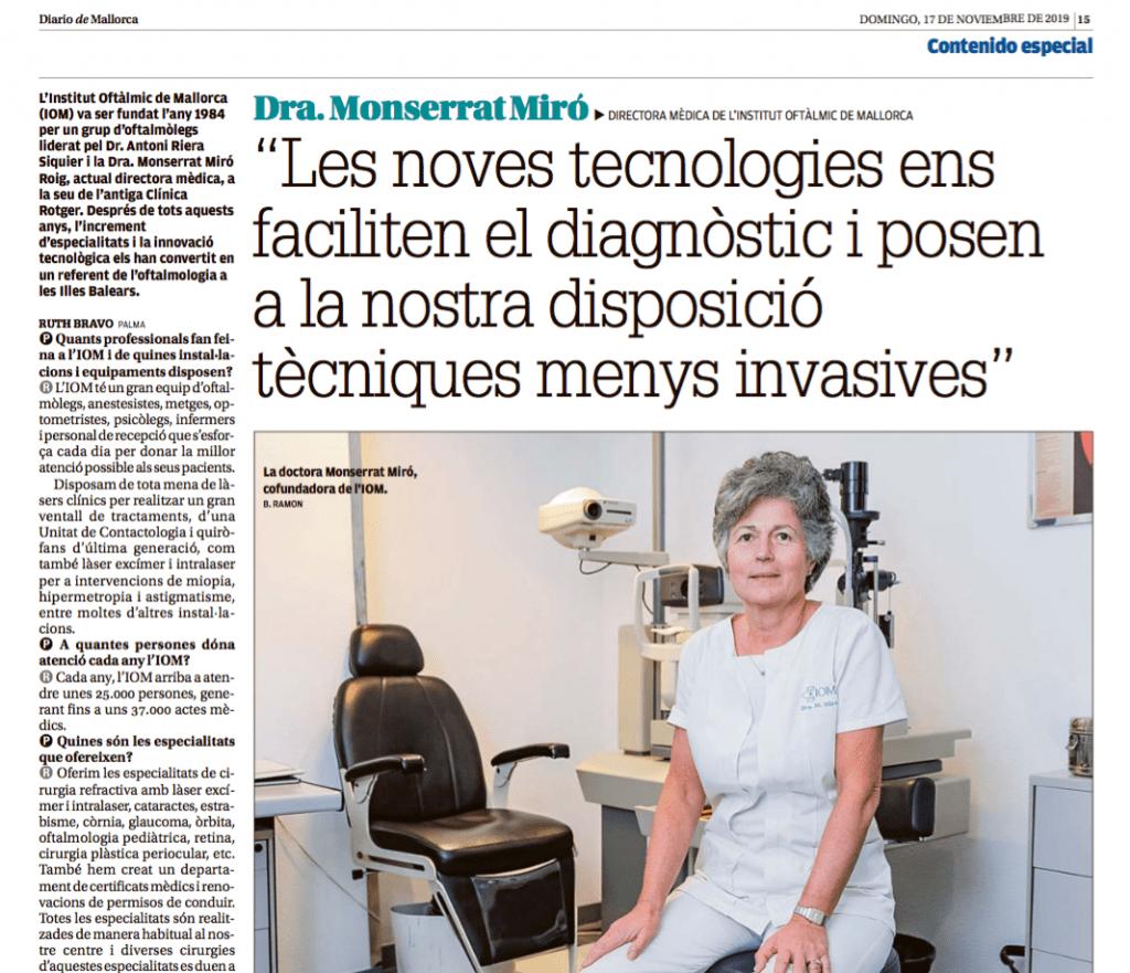 Diario de Mallorca entrevista a la Dra. Montserrat Miró de IOM